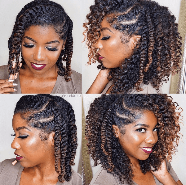 Twist Out With Side Flat Twists