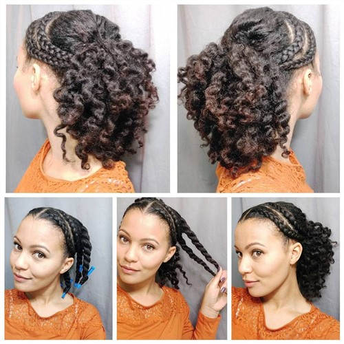 Front Side Braids and Puff In The Back