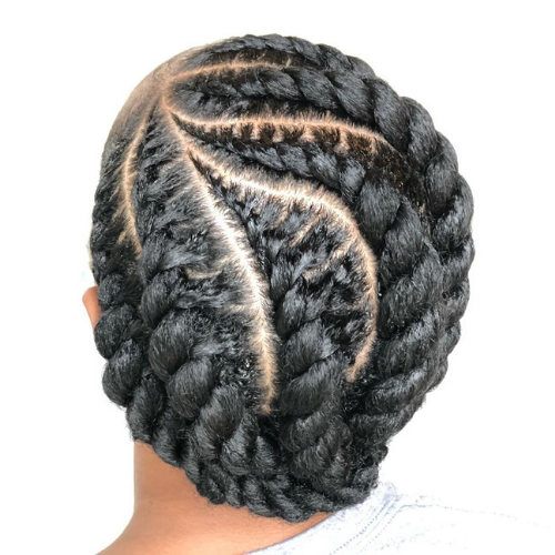Chunky flat twist with angled parting.