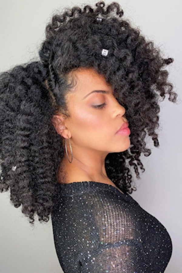Natural Hairstyles - Twistout with a side flat twist