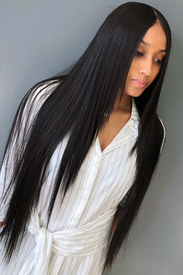 Bone straight middle part sew in.
