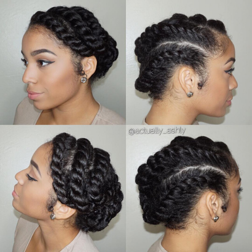 Side swept flat twists.