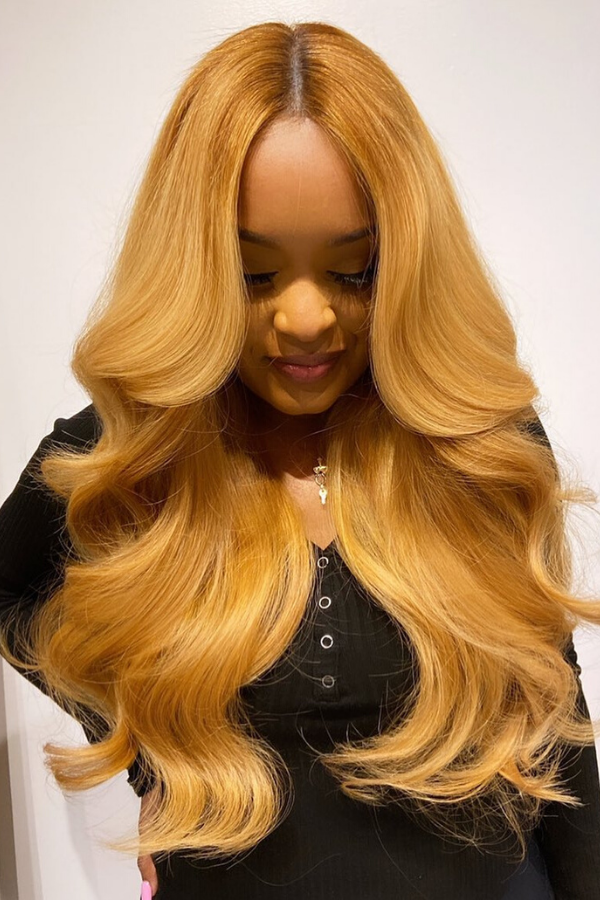 Honey blonde middle part sew in.