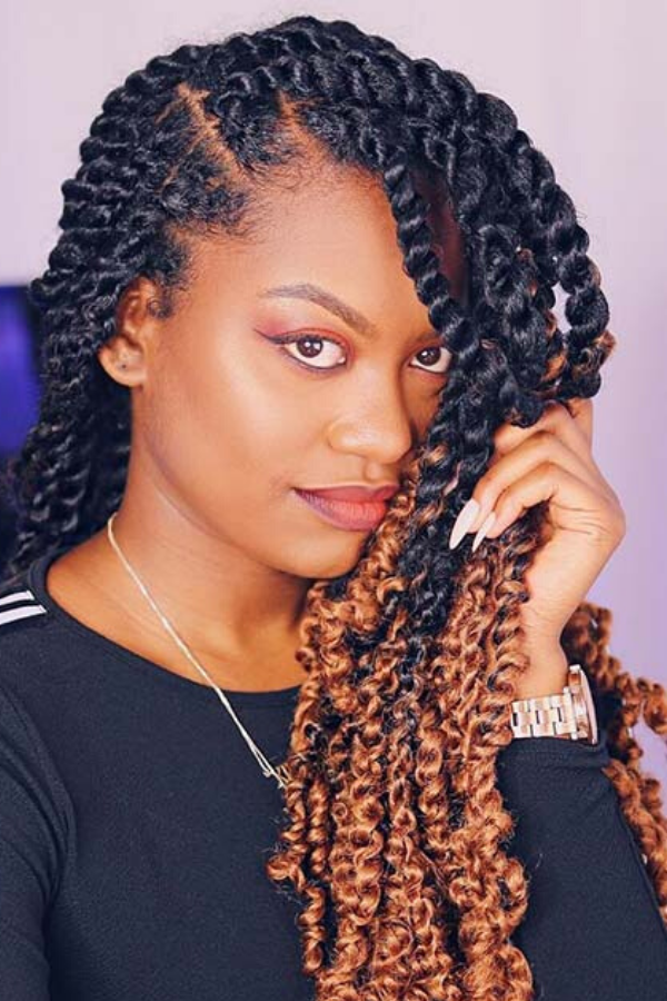 Black with Blonde Tips Long Twists