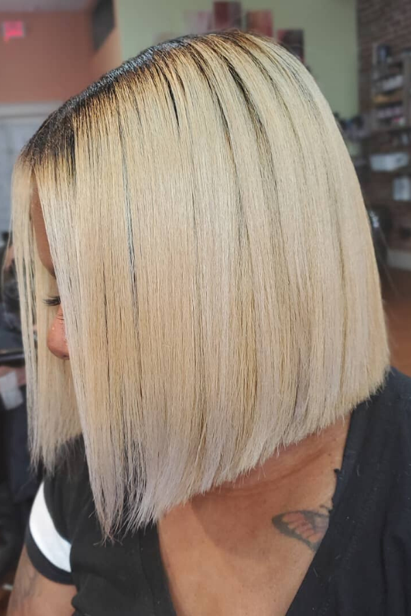Two tone blonde blunt cut bob.