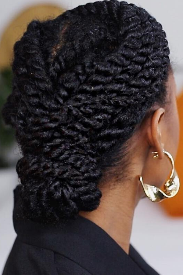 up-do with two strand twists