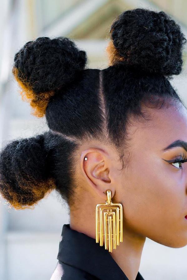 bun on natural hair