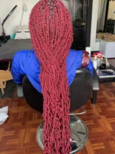 Long Red Faux Loc Hairstyles
